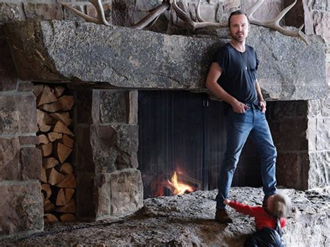 aaron paul showed   enormous log cabin retreat  idaho complete  cinema sauna