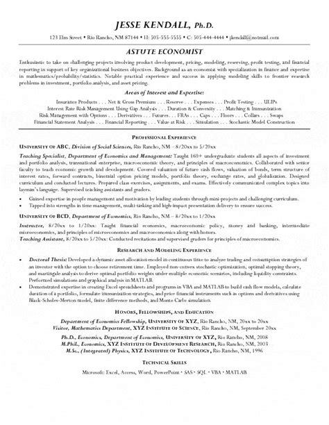 Cv Template Phd Economics by Economist Resume