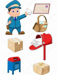 Cartoon Mail carrier with bag and letter — Stock Vector ...