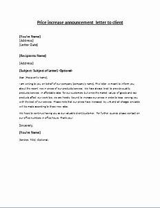 price increase announcement letter to client letter With price increase letter template