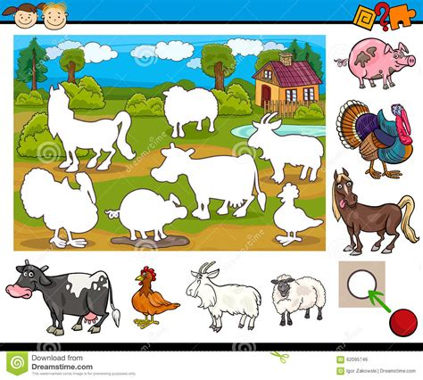 educational task for preschoolers stock vector image 547 | educational task preschoolers cartoon illustration matching preschool children farm animal characters 62095746