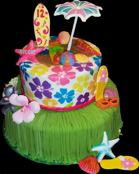 Hawaiian Cake Decorations by Aloha Hawaii Birthday Cake Green And White Buttercream