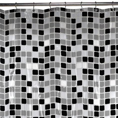 new tiled shower curtain black white grey squares imported