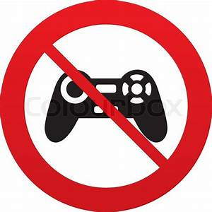 Don`t play. Joystick sign icon. Video game symbol. Red ...