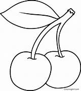 Cherry Coloring Pages Printable Fruit Cartoon Easy Vector Device Paper Any Cherries Strawberry Drawing Sheets Drawings Format Outline Simple Automatically sketch template
