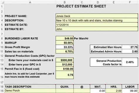 estimating  yellow pad  excel spreadsheet jlc