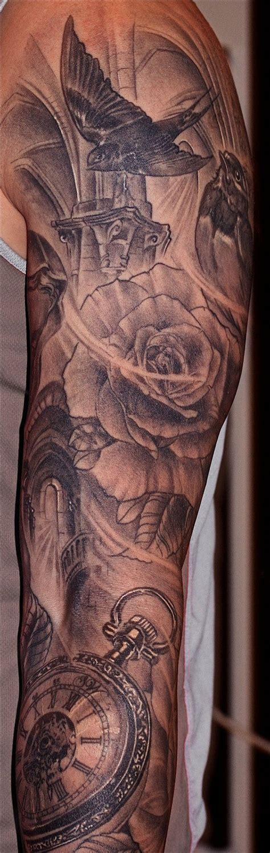 sleeve tattoo clock black   love tattoojust flowing meguiox tattoo kits