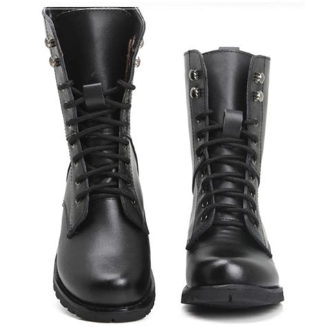 low top motorcycle boots winter round toe stiletto low heel lace up ankle black pu