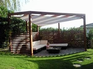 pergola holz mit sonnensegel ged sitzplatz sonnenschutz With französischer balkon mit garten pergola holz