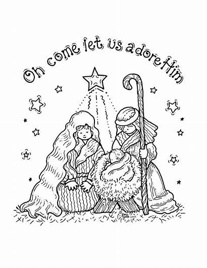 Nativity Coloring Pages Printable Sheets Christmas Cards