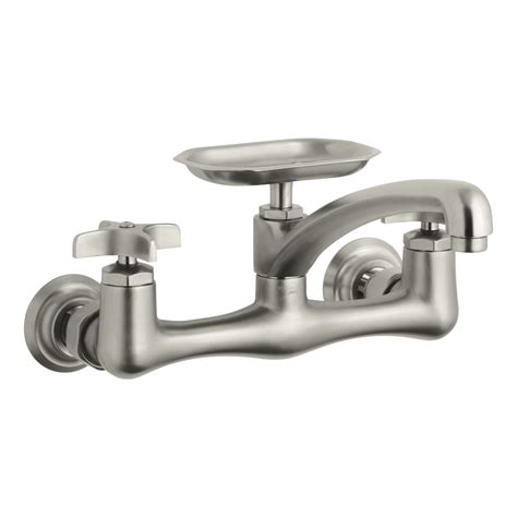 utility sink faucet lowes shop kohler clearwater vibrant brushed nickel 2 handle