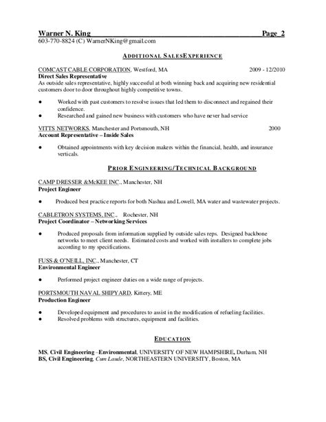Door To Door Sales Rep Resume resume warner king 2013