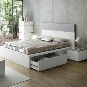 Lit Adulte Tiroir : lit design avec tiroirs twist gris 160 cm lit adulte atylia ventes pas ~ Teatrodelosmanantiales.com Idées de Décoration