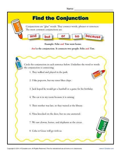 find the conjunction 1st grade worksheets