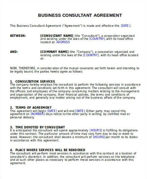 business agreement templates word