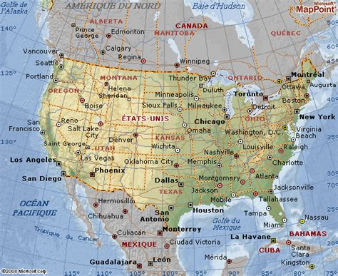 Carte Etats Unis Canada Avec Villes by Carte G 233 Ographique Des Etats Unis G 233 Ographie Des Usa