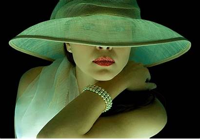 Classy Hat Woman Mysterious Necklace Lady Pretty