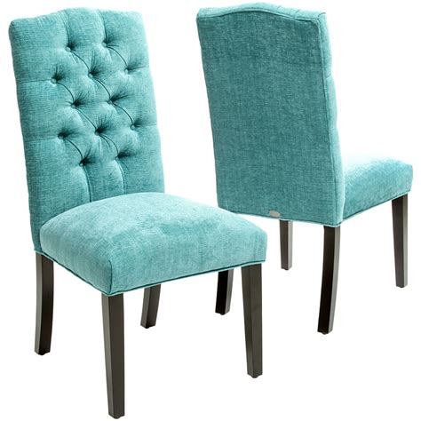 turquoise macie set   tufted parsons dining chairs