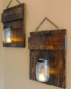 rustic pallet sconces o 1001 pallets With best brand of paint for kitchen cabinets with how to make candle holders out of wood