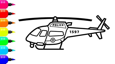 draw  police helicopter  kids taxi coloring book  children  images