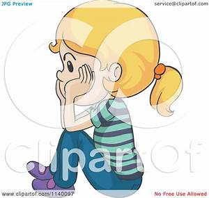 Cartoon Of An Upset Blond Girl Sitting And Thinking ...