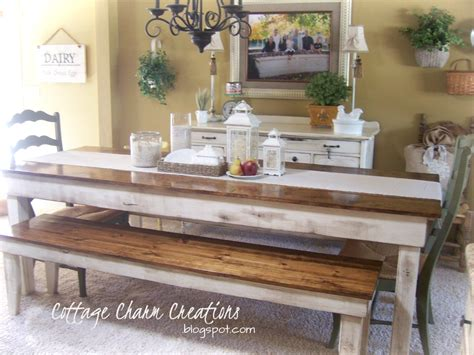 farmhouse table with bench cottage charm creations provincial farmhouse table