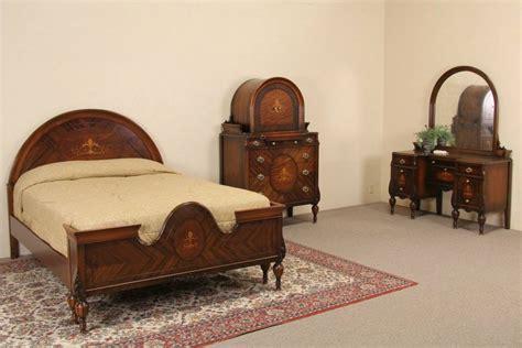 vintage bed set marquetry 1920 39 s size antique bedroom set 3 pc ebay