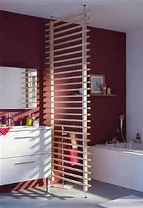 une cloison en bois amovible pour separer la salle de bain With cloison pour salle de bain