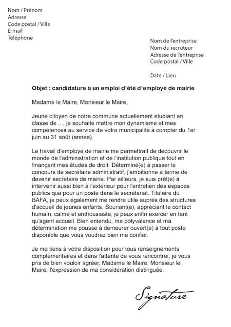 modele lettre de motivation employé communal lettre de motivation d 233 t 233 mairie mod 232 le de lettre