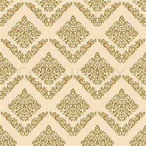Gold seamless floral elegant wallpaper, vintage pattern ...