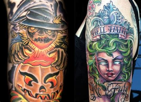 unique scary halloween tattoo designs images