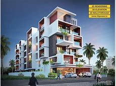3D Ultramodern Apartment exterior day rendering and