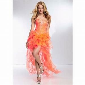Fashion High Low Sweetheart Neon Orange Organza Ruffle