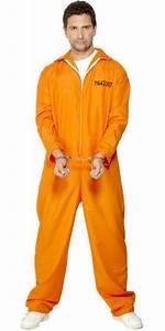 Prisoner Convict Orange Boiler Suit Fancy Dress Costume Large