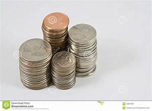 Stacks of American coins stock photo. Image of quarter ...