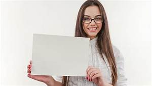 Smiling Young Business Woman Showing Blank Board, Over ...