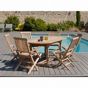 table ovale extensible 150 200 x 90 cm en teck meubles With banc en teck pour jardin 12 un salon de jardin design elle decoration