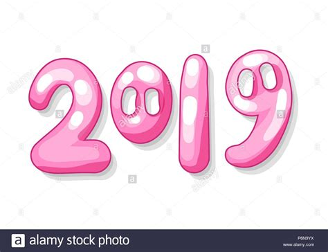 Isolated 2019 Numbers With Cute Pig Snout In Pink Color