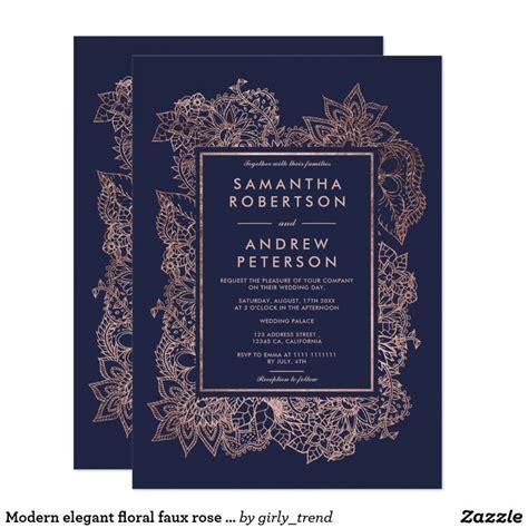 Modern elegant floral faux rose gold frame wedding