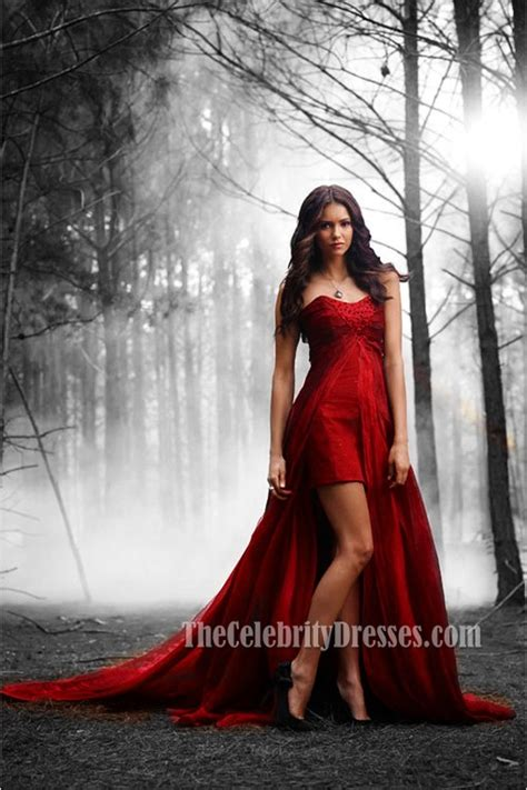 nina dobrev red strapless high  prom evening dress