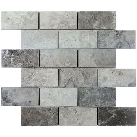 menards gray subway tile avenzo 12 in x 12 in valensa gray polished mosaic lowe s