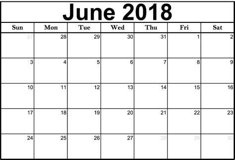 Word Calendar Template June 2018 Calendar Word Printable
