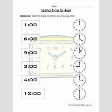 Telling Time To The Hour Clock Worksheet  April  Clock Worksheets, Telling Time, Time To The Hour