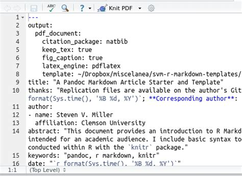 markdown template an r markdown template for academic manuscripts steven v miller