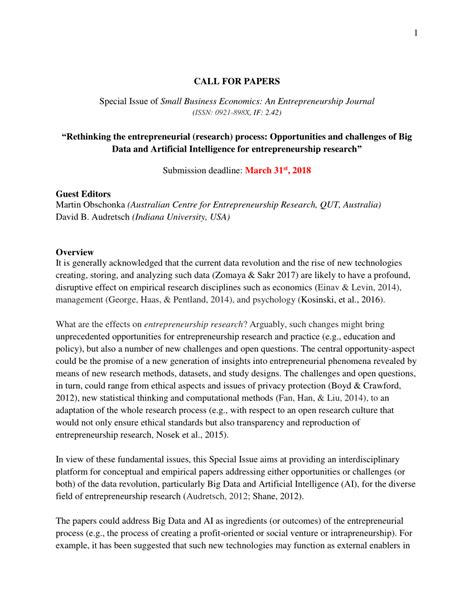 "Special Issue Call for Papers (SBEJ): ""Rethinking the"