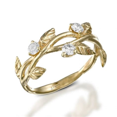 leaves engagement ring deco engagement ring 14k yellow gold ring leaf ring ring