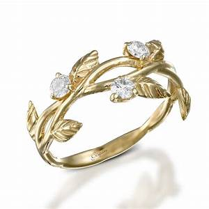 leaves engagement ring art deco engagement ring 14k With leaf wedding ring