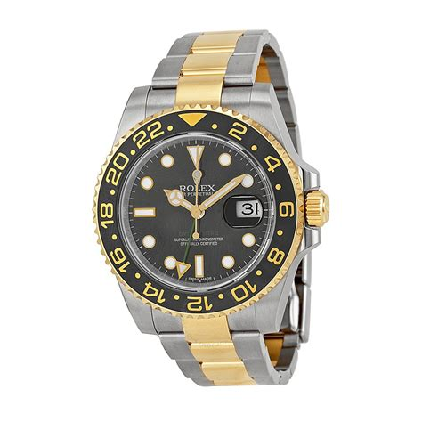 rollex gold rolex gmt master ii black stainless steel and 18kt
