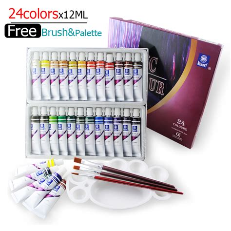 water resistant 24 colors 12ml acrylic paint set
