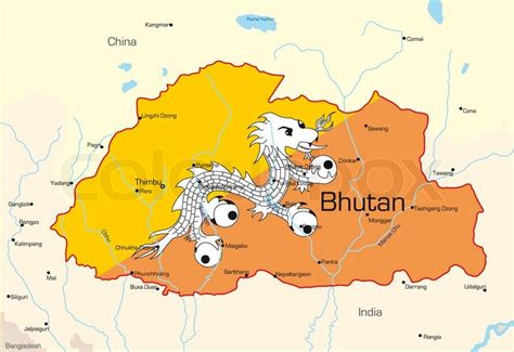 vector map  bhutan country colored  national flag